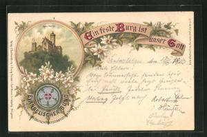 Lithographie Eisenach, Ansicht der Wartburg, Evangelischer Bund