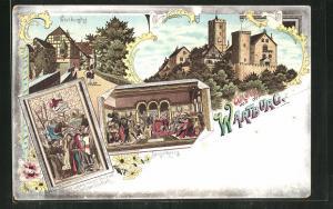 Lithographie Eisenach, Wartburg, Burghof, Sängerkrieg