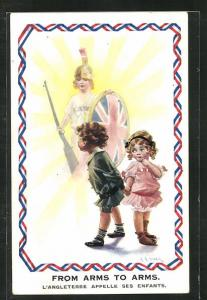 AK From Arms to Arms, L`Angleterre alpelle ses Enfants, Kinder Kriegspropaganda