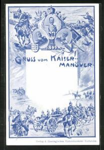 AK Kaisermanöver, Kaiserportrait und Soldaten in Uniformen mit Kanonen