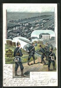 AK Lager Lechfeld, Teilansicht, Artilleriesoldaten in Uniformen mit Geschütz