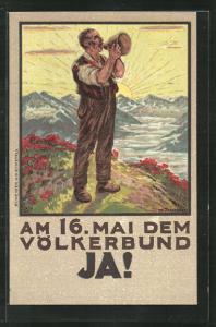 Künstler-AK Schweiz, Abstimmung über den Beitritt zum Völkerbund 1920, Aufforderung zum Ja