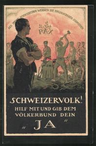 AK Schweiz, Eidgenössische Volksabstimmung 1920 über den Beitritt zum Völkerbund