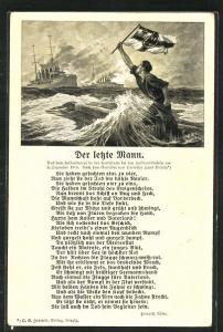 Künstler-AK Hans Bohrdt: Seeschlacht bei den Falklandinseln am 8.12.1914, Schiffbrüchiger Matrose eines Kriegsschiffes