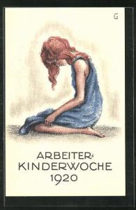 AK Arbeiter-Kinderwoche 1920, trauriges Mädchen
