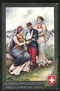 AK Schweiz, Les Heroiques Grands Blessés Francais