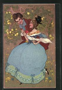 AK verliebtes Paar, Frau im Biedermeierkleid