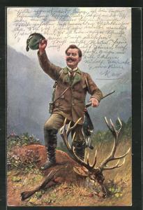 AK Jäger auf erlegten Hirsch