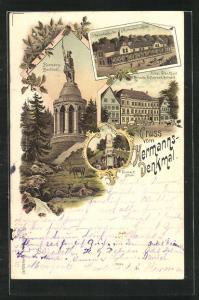 Lithographie Hermanns Denkmal, Hotel Frakfurt-Detmold
