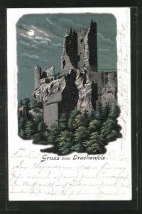 Lithographie Ruine Drachenfels bei Vollmond
