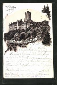 Vorläufer-Lithographie Eisenach, 1894, Wartburg von Osten betrachtet