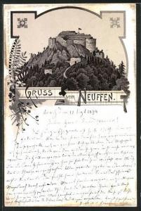 Vorläufer-Lithographie Neuffen, 1894, Blick auf die Festung Hohen-Neuffen