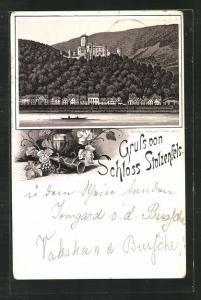 Vorläufer-Lithographie Koblenz, 1892, Blick auf Schloss Stolzenfels