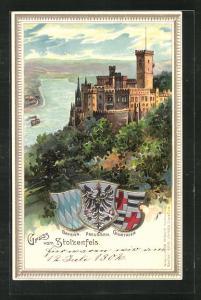 Passepartout-Lithographie Schloss Stolzenfels mit Blick ins Rheintal, Wappen