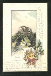 Passepartout-Lithographie Neuffen, Ruine Hohen-Neuffen, Wappen