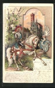 Passepartout-Lithographie Schloss Lichtenstein im Abendlicht, Edelmann zu Pferd, Wappen