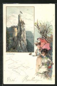 Passepartout-Lithographie Schloss Lichtenstein, Damen mit Fernglas