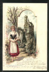 Passepartout-Lithographie Schloss Lichtenstein, s` Bärbele vom Lichtenstein