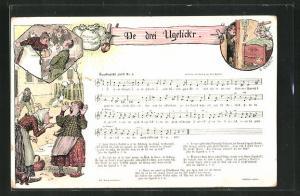 AK Lied De drei Ugelick`r, Text und Noten