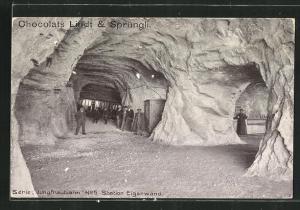 AK Station der Jungfraubahn Eigerwand, Reklame für Chocolats Lindt & Sprüngli