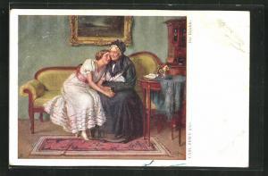 Künstler-AK Carl Zewy: Die Beichte, Grossmutter mit Enkelin