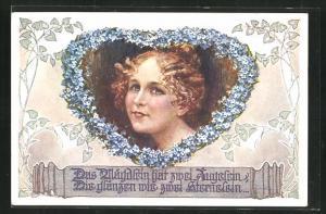 AK Deutscher Schulverein Nr. 1946: Das Mägdelein hat zwei Äugelein, die glänzen wie zwei Sternelein