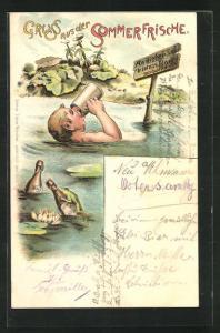 Lithographie Trinkerhumor, betrunkener Mann badet trotz Verbpot im See mit Bierflaschen, Brauerei zum Spaten