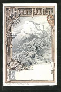 Künstler-AK Burg Hohenneuffen mit Landschaftsidyll
