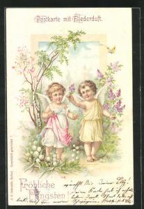 Duft-AK Fröhliche Pfingsten mit zwei Engeln im Blumengarten, Fliederduft