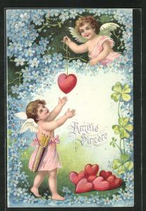 Präge-AK Amor und Engel mit Herzen