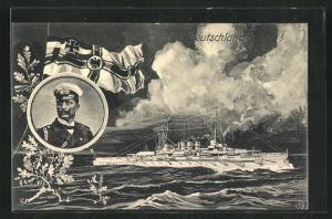 AK Deutschland voran!, Kriegsschiff auf hoher See, Portrait von Kaiser Wilhelm II.