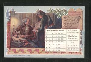 Künstler-AK Kalender französische Revolution, Novenbre 1904, Mann mit Schreibfeder am Tisch