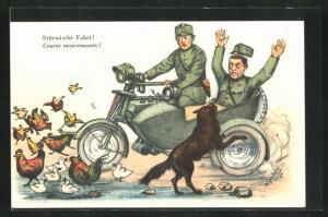 Künstler-AK Stürmische Fahrt!, Schweizer Soldaten werden im Motorrad mit Beiwagen von einem Wolf angefallen