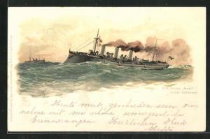 Künstler-AK Hans Bohrdt: Kriegsschiff S.M. Aviso Greif unter Volldampf