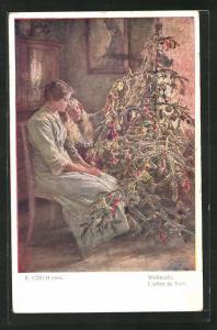 Künstler-AK Emil Czech: Mutter und Tochter am Weihnachtsbaum