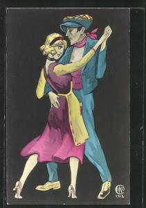 Künstler-AK elegant gekleidetes Paar beim Tanzen