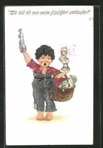 Künstler-AK Kriegsnot, Wo soll ich meine Gipsfiguren verkaufen?, verzweifelter Knabe hält Figuren in die Luft