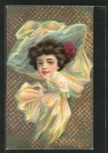 Präge-AK Art Deco, wunderschöne junge Frau mit seidenem Hut