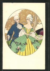 Künstler-AK Art Deco, hübsches Liebespaar in barocker Kleidung beim Spaziergang