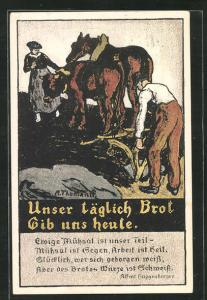 Künstler-AK Zürich, Kriegsnotunterstützung, Bauern bei der Feldarbeit