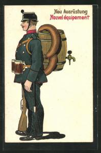 AK Schweizer Soldat in Uniform mit neuer (Trinker-) Ausrüstung