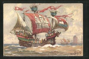 Künstler-AK Hans Bohrdt: Altes Hanseatisches Kriegsschiff Bunte Kuh