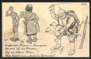 Künstler-AK P. O. Engelhard (P.O.E.): Engländern, Russen und Franzosen spanne ich die Hosen