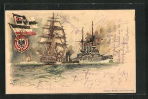 Künstler-AK Hans Bohrdt: Kriegsschiffe auf hoher See, Deutscher Flotten Verein, Flaggen