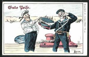 AK Gute Brise, Matrosen mit Tabakdose, Propaganda 1. Weltkrieg