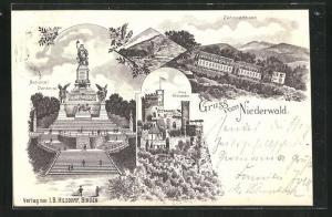 Lithographie Niederwald, Zahnradbahn, National Denkmal, Burg Rheinstein