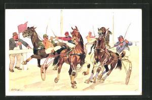 Künstler-AK Fritz Schönpflug: Jockeys bei einem Pferderennen
