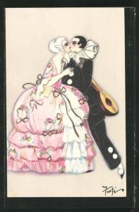 AK Art Deco, Harlekin küsst Dame in weitem rosafarbenen Kleid