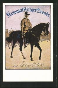 AK Heerführer von Lettow-Vorbeck auf Pferd, Kolonial Krieger Spende
