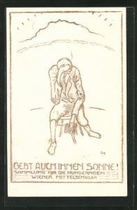 AK Kriegsnot, Armer Mann sitzt verzweifelt auf Stuhl, Gebt auch Ihnen Sonne, Sammlung für die Hungernden